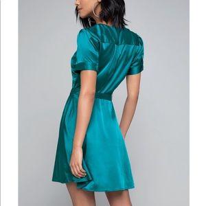 bebe Dresses - Bebe Charmeuse Shirt Dress Blue Lagoon Tie XS NWT